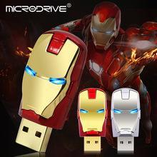 eisen mann fahren Rabatt Hochwertige Iron Man Pen-Laufwerk 4 GB 8 GB 16 GB 32 GB Metall-Stick 64 GB 128 GB USB-Flash-Laufwerk mit LED-Licht memoria usb