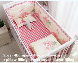 Berços conjuntos de cama on-line-Promoção! 6 / 9PCS Flamingo Baby Berço Conjuntos de cama Berço Linen Baby Girl Jogo de cama