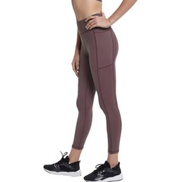 see leggings Promo Codes - Women Non See-Through Highly-Elast Yoga Pants Tummy Control Tight Leggings With Pocket Athletic Pants Workout Running Leggings