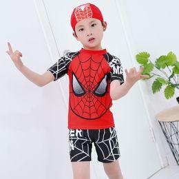maillot de bain pour enfants Promotion Garçons 2 pièces maillot de bain + casquette Spiderman Cartoon enfants maillots de bain garçon enfants maillots de bain vêtements à manches courtes pour la natation Y19072401