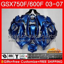 ninja 636 de oro negro Rebajas Kit de carrocería para SUZUKI KATANA GSXF600 GSXF750 03 04 05 06 07 3HC.44 GSX750F GSX600F GSXF 750 600 2003 2004 2005 2006 2007 azul claro
