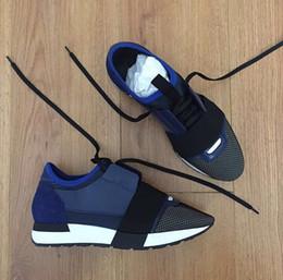 zapatos de mujer totalidades Rebajas Paris Brand Whole Blue Casual Shoe Hombre Mujer Diseñador de moda Punta puntiaguda Lace Up Cheap Sneaker Mesh Trainer Shoes Tamaño al por mayor: 35-47