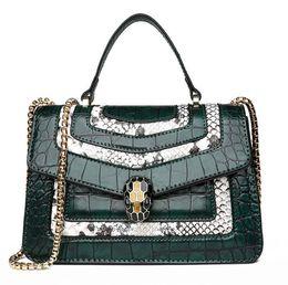 Vintage krokodil-taschen online-Outlet Marke Frauen Handtasche Vintage geprägt Krokodil Handtasche elegante Kontrast Farbe Hand Umhängetasche Mode Krokodilleder Handtasche