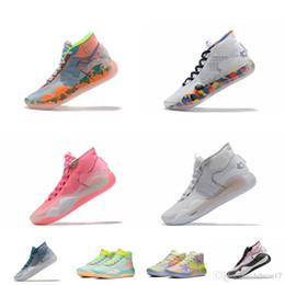 Мужская обувь для баскетбола kd 12 EYBL Цветочные пасхальные синие рождественские BHM Серые леброны 16 кевин дюрант кроссовки с высокой посадкой теннисный размер 7 12 от