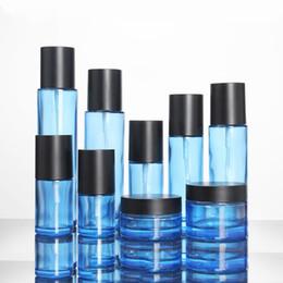 Pompa blu della bottiglia di lozione online-Black Lid Blue Glass Bottle Contenitori cosmetici Bottle Spray Lotion Pump Essence Cura della pelle Barattolo vuoto 30g 50g 120ml 60ml