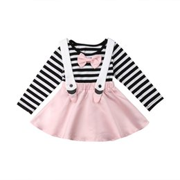 2019 Spring Toddler Kid Baby Girls Bow Stripe Tops Princess Party Skirt Dress Long Sleeve Pink Autumn Set Outfits от Поставщики длинные юбки