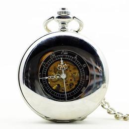 2019 horloge à main noire Steampunk Squelette Cadran Noir Boîtier Homme Relogio De Bolso Rétro Chiffres Romains Chaîne Horloge Hommes Mécanique À Main Vent Montre De Poche horloge à main noire pas cher