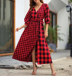 fe5eb4ff809 Women Brief Dresses Fashion Vintage Women Casual Dresses 2019 New Arrival  Ladies Plaid Print Dress Female Spring Long Dresses Size S-XL