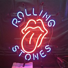 neon beer signs Coupons - ROLLING STONES Beer Led Glass Tube Neon Signs Lamp Lights Hotel Advertising Display Bar Home Decoration Sign Metal Frame 17'' 20'' 24'' 30''
