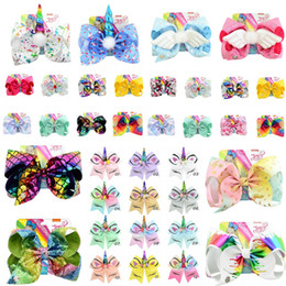 girls leather stick Promo Codes - INS 8 inch JOJO bows baby girl hair bows barrettes Angel Hands Mermaid Unicorn Design Clippers Girls Hair Clips JOJO SIWA Hair Accessory