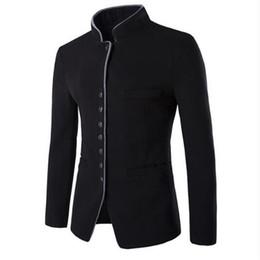 Chaqueta de han online-Otoño e invierno son 2018 nuevo hombre joven chino túnica cuello abrigo estilo chino informal Han Tang traje chaqueta NZ724