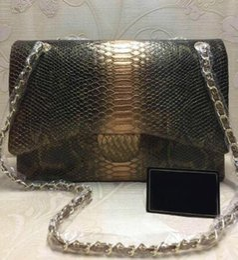 bolsos de cuero de serpiente genuina Rebajas 2019 mujeres de calidad superior bolso de piel de serpiente de cuero genuino bolsos de diseñador de alta calidad bolsos de oro cadena de mujeres bolsos de hombro
