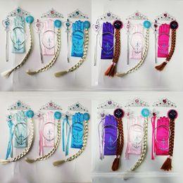 Parrucca magica dei capelli online-12 stili Principessa Accessori per capelli Corona + Bastone magico + parrucca + guanti 4 pezzi / set neonate Halloween Cosplay principessa Set di gioielli M133