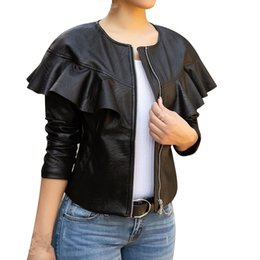 2019 женская кожаная жакет ruffle 2019 Spring Ladies Long Sleeve Leather Jacket Casual Women Zipper Ruffles O-Neck Pu Coat Slim Black Motorcycle Jackets дешево женская кожаная жакет ruffle