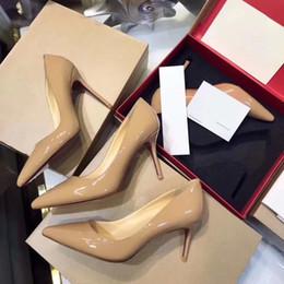 Top lady nude on-line-Designer de fundo vermelho bombas de saltos altos sapatos mulheres sexy couro genuíno nu preto vermelho sapatos de casamento saltos finos sapatos de escritório senhora de alta qualidade