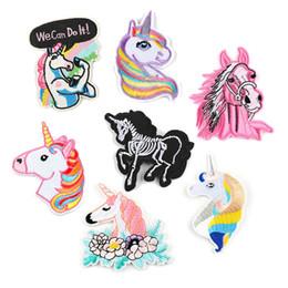 sacos diy para miúdos Desconto Unicórnio Correndo Remendos Bordados de Cavalo Sew Iron On Applique Reparação DIY Emblema Remendo Para Crianças Roupas Jaqueta Saco de Vestuário