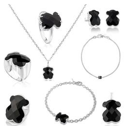colliers de roses noires Promotion FAHMI 100% Argent 925 Mignon Ours Facettes Noir Agate Boucles d'oreilles Bracelet Collier pendentif anneau Clavicule Bijoux chaîne