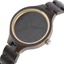 Regalos Señoras de madera Mujeres Vintage Madera Reloj de pulsera Natural Ébano Relojes de pulsera de cuarzo Cadenas de bambú Regalos hechos a mano de mujer desde fabricantes