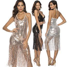 2019 robes de fête frangées Designer Women Sexy Dress Robe de boîte de nuit sexy à franges de luxe à paillettes avec Hip Wrap Women Dress Taille de la fête Disponible de S à XL robes de fête frangées pas cher