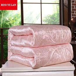 Manta rosa on-line-Seda Mulberry Consolador para o inverno / verão Twin tamanho Rainha Rei completa edredão / cobertor / edredão do branco / rosa / bege Filler