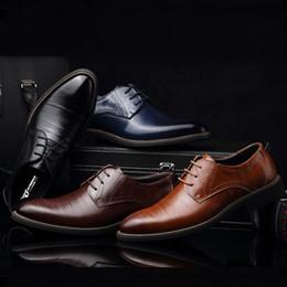 chaussures formelles hommes bleus Promotion Masorini Hommes Chaussures En Cuir Britannique Noir Bleu Chaussures À La Main Confortable Robe Formelle Hommes Appartements À Lacets Bullock WW-529