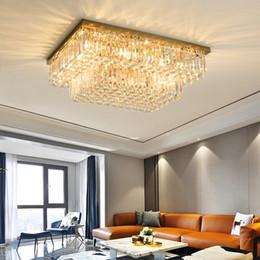 iluminação ocidental vintage Desconto Novo design contemporâneo retângulo lustre de cristal luzes de teto lâmpada lustres de aço inoxidável de ouro levou para estar quarto quarto