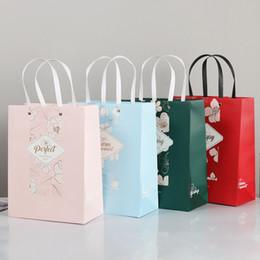 2019 padaria flores Compra de papel sacola Flor Impresso portátil Compras Gift Bag Shopping Restaurante Festa Padaria Home Cafe saco de papel com alças padaria flores barato