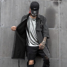 black gothic shirt Promo Codes - Men Casual Long Striped Shirt Cardigan Coat Male Streetwear Hip Hop Punk Gothic Half Sleeve Shirt Singer Stage Clothes
