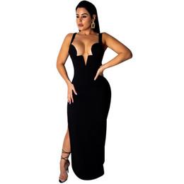 affe84616 Lado alto Dividido Elegante Vestido ajustado de las mujeres Correa de  espagueti Parte posterior abierta Sundress Summer Negro Cuello en V  profundo Vestidos ...