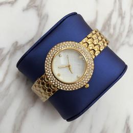 Color dorado relojes damas online-2019 Hot Relojes De Marca Mujer Lujo color dorado reloj de mujer con diamante lleno Alta calidad Moda vestido de dama reloj de pulsera para mujer