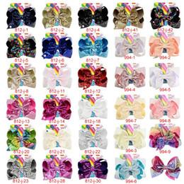 Clips d'arc en Ligne-8 pouces Jojo Siwa cheveux arcs Jojo arcs avec clip pour bébé enfants grand noeud de paillettes Licorne cheveux arcs