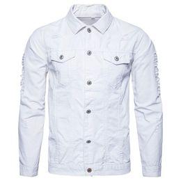 Hombre abrigo blanco online-Chaqueta de mezclilla sólida de los nuevos hombres de la moda lavado denim slim fit agujero abrigo grueso abrigo superior otoño ejército verde blanco negro chaqueta
