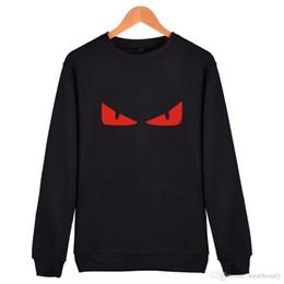 2019 abbigliamento occhi rossi Mens Winter Warm Clothing Novità Mostro Devil's Eye Sweatshirt Girocollo Nero Rosso Blu Pullover Spedizione gratuita abbigliamento occhi rossi economici