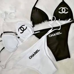 biquíni sexy de duas peças preto Desconto Marca Mulheres Bikini Sexy Swimwear Designer Letters Lace Up Swimsuit acolchoado trajes de banho de duas peças roupa interior preto Swimsuit Branco