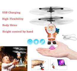 rc fly ball Promo Codes - Santa Claus LED Flashing Light Flying Ball Toy RC Aircraft Induction Drone Helicopter Toy Kids Christmas Gifts with Box Free DHL