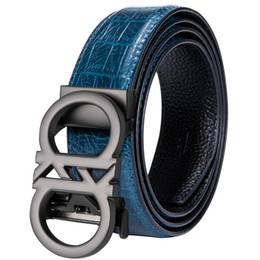2019 scorrevole automatico Hi-Tie Brand Trending Designer Cinture per uomo Sliding Buckle Ratchet Cintura uomo in pelle di lusso Cintura automatica Ceinture Homme scorrevole automatico economici