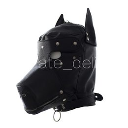 Máscara de látex online-Faux Leather Dog Mask Sexy Latex Realistic Head Bondage Hood Adult Sex Dog Mask Black Fetish Erotic Toys Juguetes sexuales para parejas