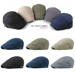 Boné de golfe da letra dos homens on-line-Mens Boné plano Beret Cabbie Chapéu Country Newsboy Golf Driving Hat Caps Embriodery Letter Solid Casual 2019
