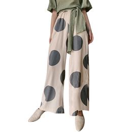 8899cfa16e1183 Pantaloni a pois donna estate pantaloni a vita alta colpiti da pantaloni a gamba  larga di grandi dimensioni a colori grandi vestiti moda femminile 2019 ...