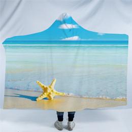 cobertores frescos Desconto Starfish E Oceano capuz Blanket Cool 3D Imprimir Sherpa velo Wearable cobertor para Adultos Lance Cobertura azul manta