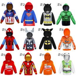european style hoodies Coupons - Baby Hoodies super Hero coat Kids Cars Planes Sportswear Little Boy Tracksuit Halloween Makeup Evening party Kids Jacket clothes AA19211