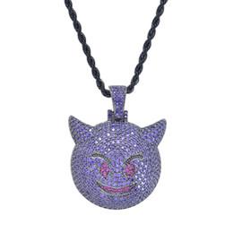 Conjunto de collar de piedra púrpura online-Bling bling Hip Hop Purple evil emoji Colgante Cobre Micro Ajuste CZ piedras Collar Joyería para hombres CN047