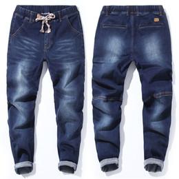 японский стиль джинсов Скидка Fashion Japan Style 5XL 6XL 7XL Jeans Men Taper Elastic Band Plus Size Male Jeans Pants Embroidery Big Size Men Trousers