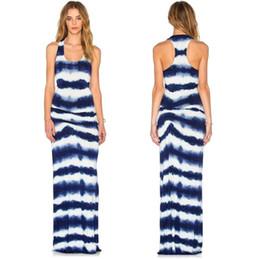 Robe européenne et américaine pour femme, imprimée avec des rayures en soie et soie, jupe longue, robe sans manches, sans manches ? partir de fabricateur