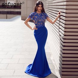 Bleu royal robes de soirée à manches courtes en dentelle appliques satin sirène arabe musulman occasion spéciale robe de soirée robe ? partir de fabricateur