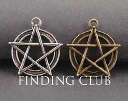 silver pentacle bracelet Coupons - 20 pcs Metal Alloy Bronze and Silver Finish Wicca Pentacle Charms DIY Bracelet Necklace Jewelry Findings A739 A740