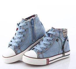 HOT us größe 8.5-3 Kinder Schuhe Sport Atmungsaktive Jungen Turnschuhe Marke Kinder Schuhe für Mädchen Jeans Denim Lässige Kind Flache Stiefel von Fabrikanten