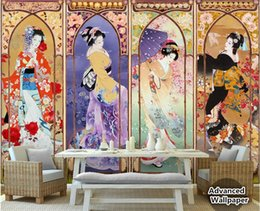 oil effects Promo Codes - custom made Silk cloth wall paper beautiful Japanese beauty oil painting four-screen TV background papel de parede 3d wallpaper