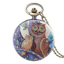 Unico 3D copertura del fronte del gufo colorato orologio da tasca al quarzo Collana pendente gioielli Ore orologio creativo Regali per gli uomini Giovani da