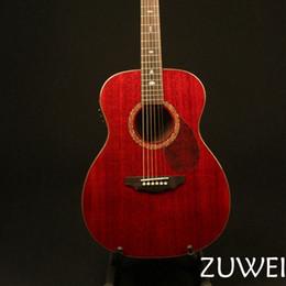 Красная электрогитара онлайн-Электрическая Акустическая гитара ZW-4001 Solid Красное дерево Top Abalone Inlay Sound Hole Fishman 301 Presys Смешать Vintage Red Finish